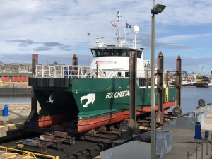 Offshore Wind first for Fraserburgh - Rix Cheetah docks at Fraserburgh Harbour Shiplift